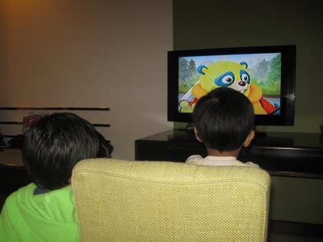 Indian Children Watching Television